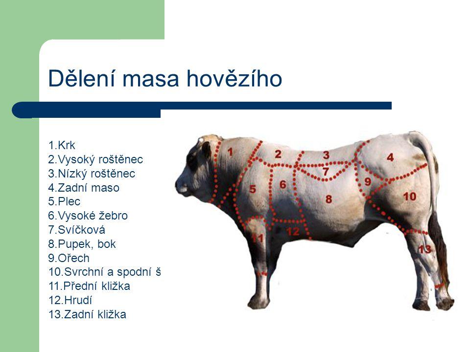 Dělení masa hovězího 1.Krk 2.Vysoký roštěnec 3.Nízký roštěnec