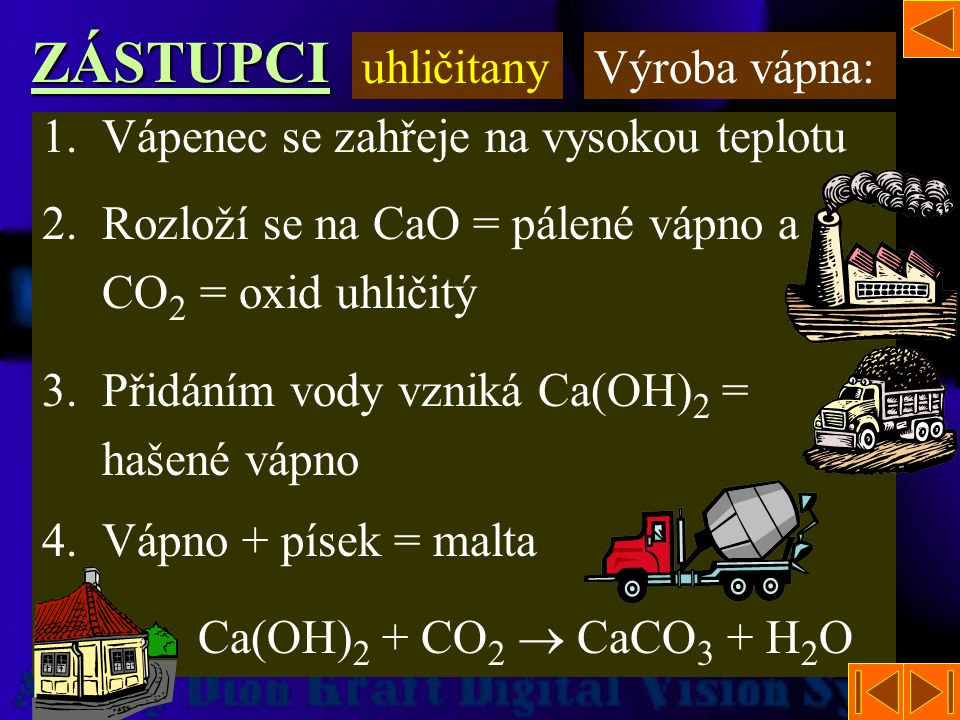 ZÁSTUPCI uhličitany Výroba vápna:
