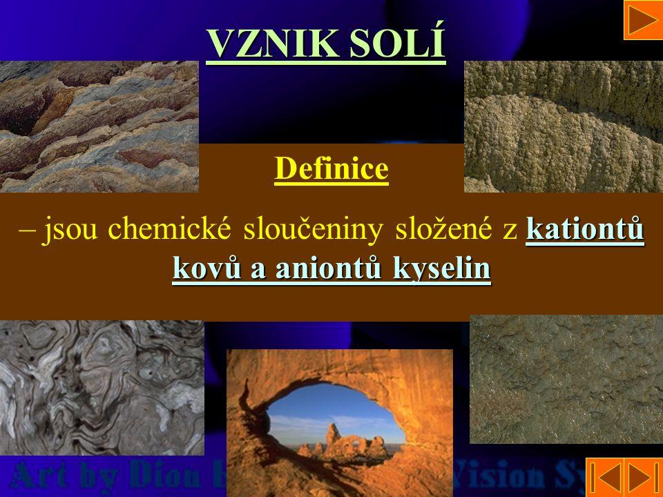 – jsou chemické sloučeniny složené z kationtů kovů a aniontů kyselin