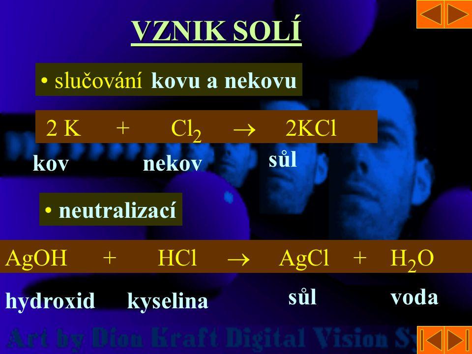 VZNIK SOLÍ slučování kovu a nekovu 2 K + Cl2  2KCl sůl kov nekov