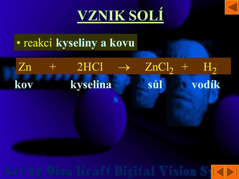 VZNIK SOLÍ reakcí kyseliny a kovu Zn + 2HCl  ZnCl2 + H2 kov kyselina