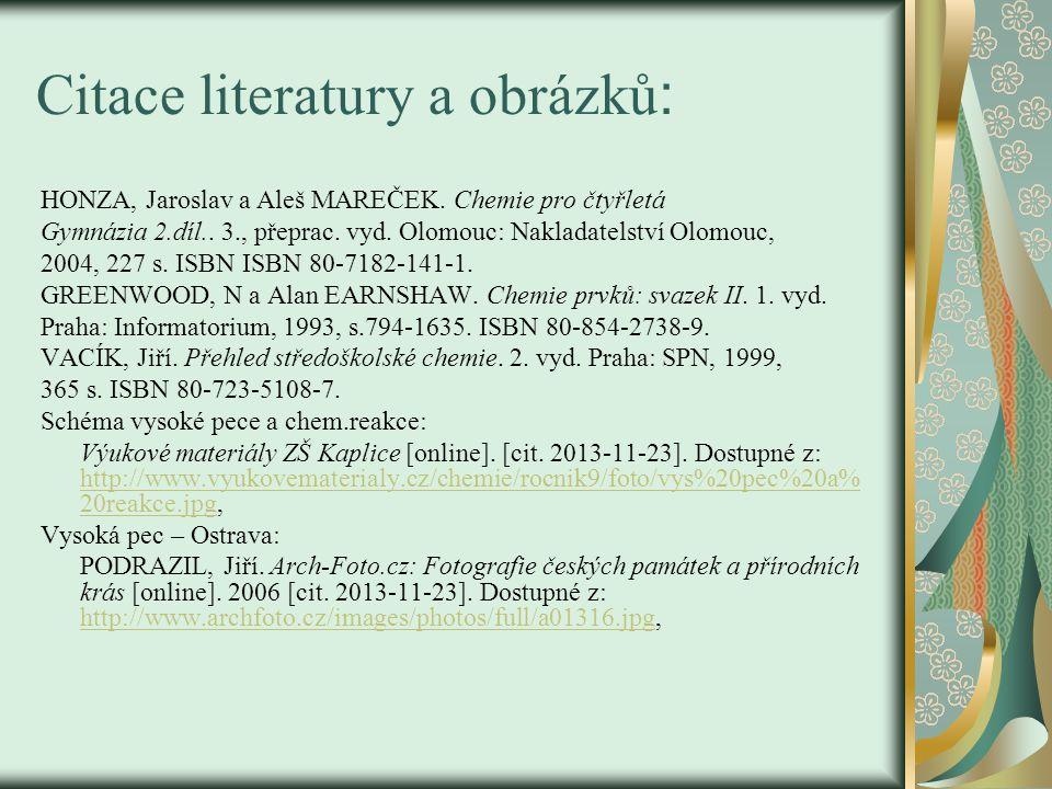 Citace literatury a obrázků: