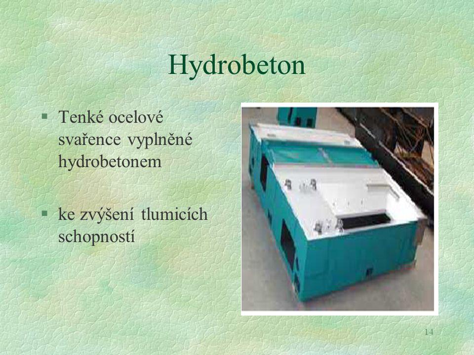Hydrobeton Tenké ocelové svařence vyplněné hydrobetonem