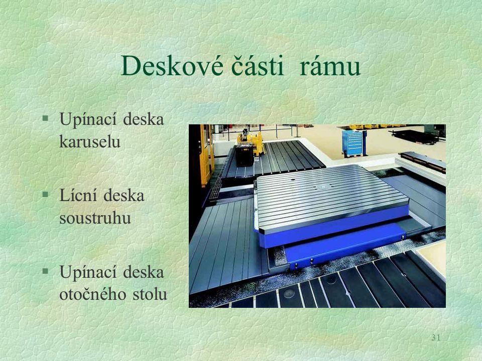 Deskové části rámu Upínací deska karuselu Lícní deska soustruhu