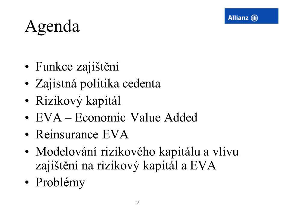 Agenda Funkce zajištění Zajistná politika cedenta Rizikový kapitál