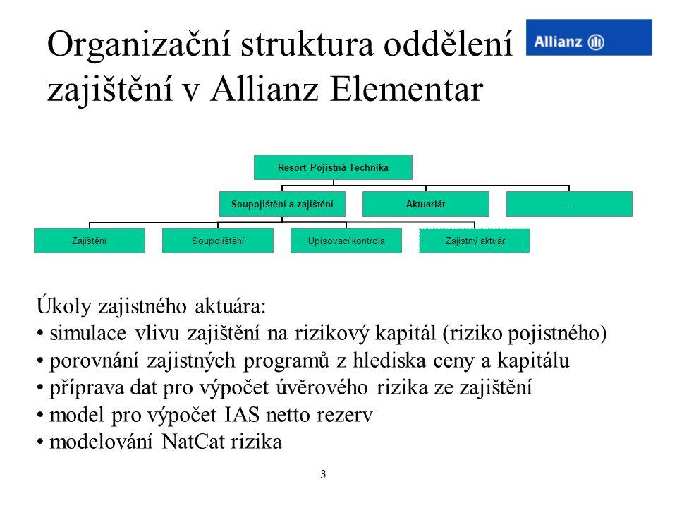 Organizační struktura oddělení zajištění v Allianz Elementar