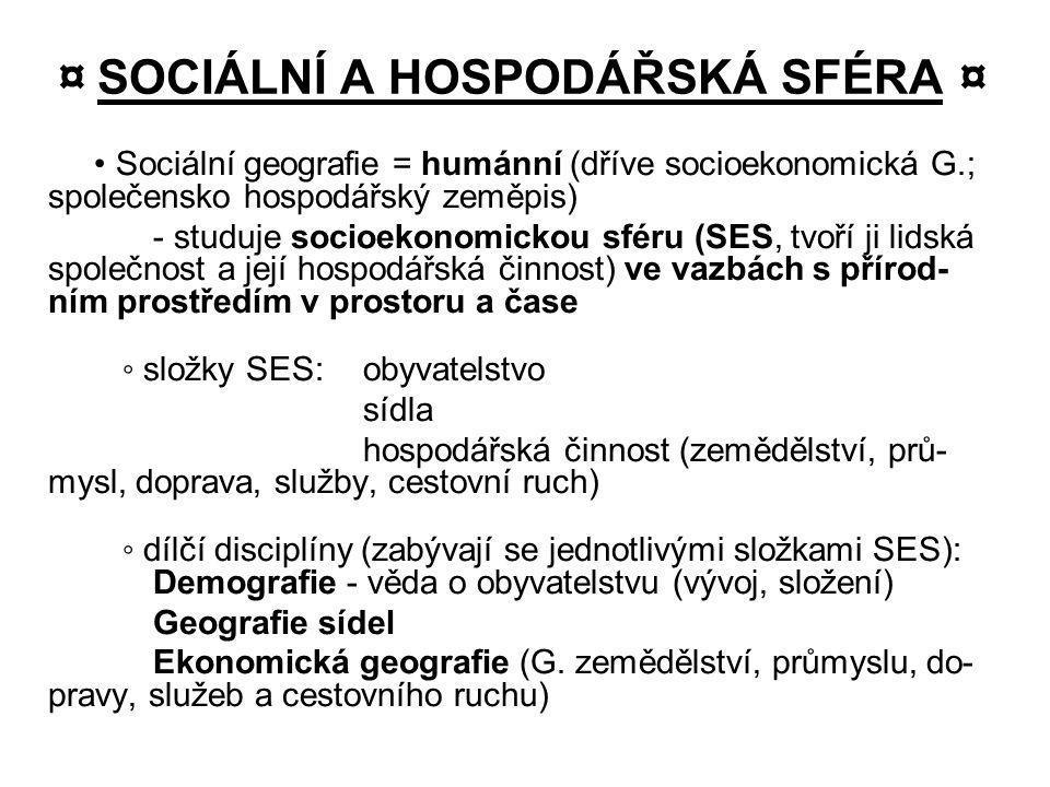 ¤ SOCIÁLNÍ A HOSPODÁŘSKÁ SFÉRA ¤
