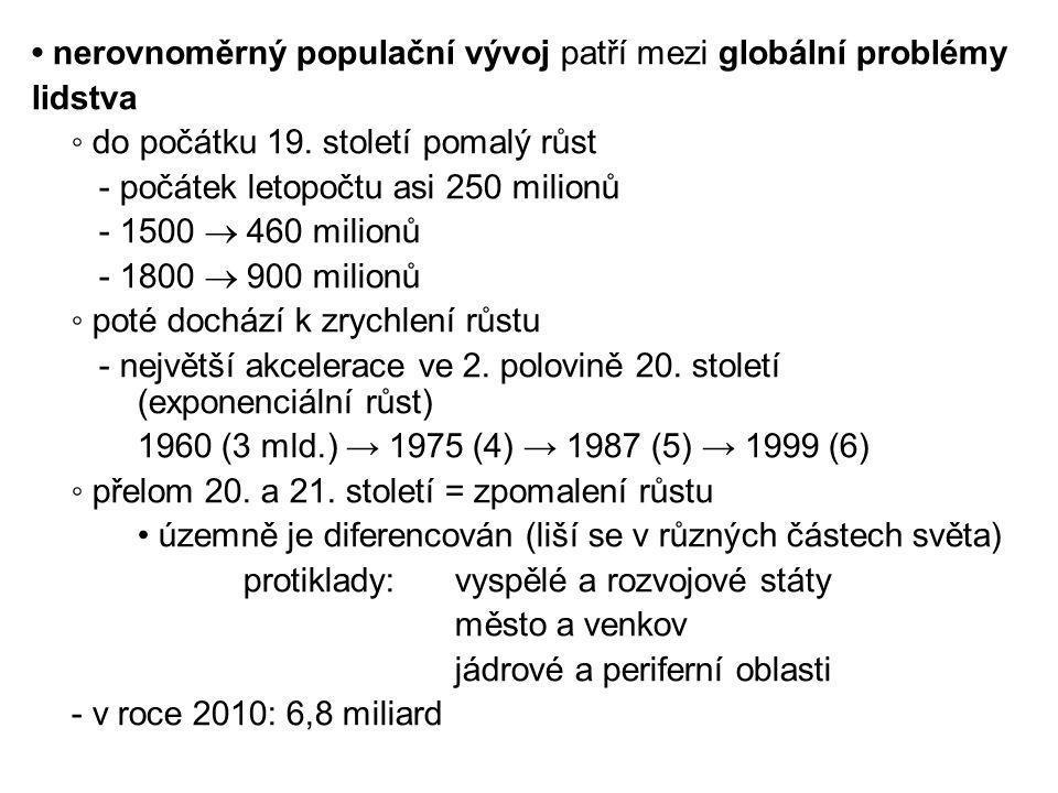 • nerovnoměrný populační vývoj patří mezi globální problémy