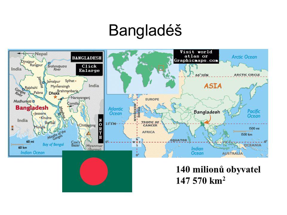 Bangladéš 140 milionů obyvatel 147 570 km2
