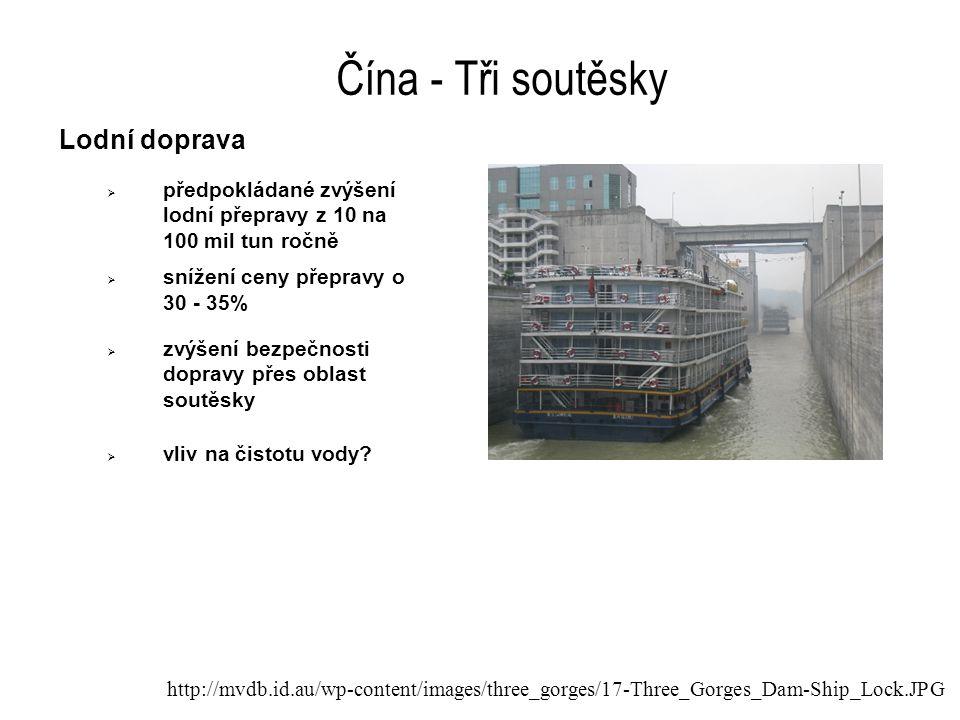 Čína - Tři soutěsky Lodní doprava