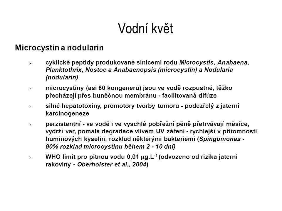 Vodní květ Microcystin a nodularin