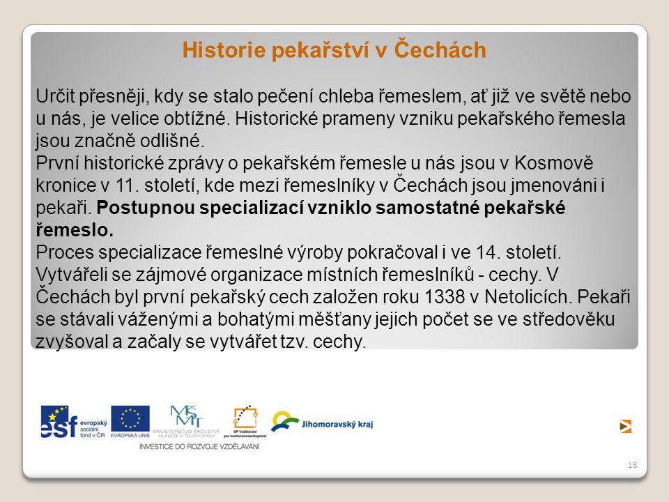 Historie pekařství v Čechách