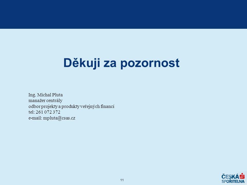 Děkuji za pozornost Ing. Michal Pluta manažer centrály