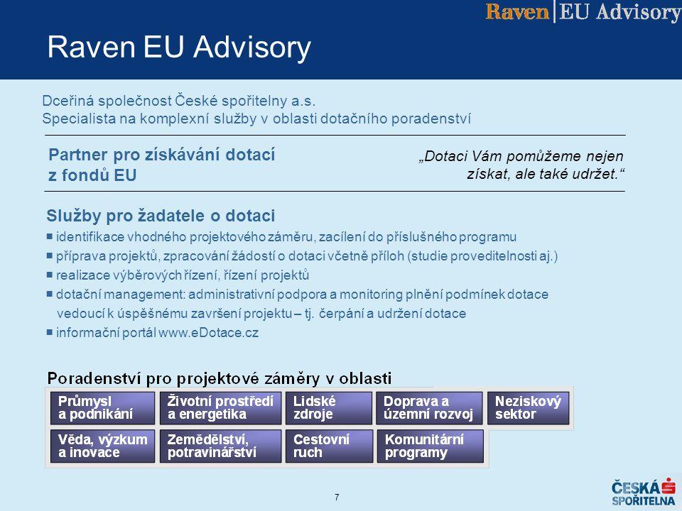 Raven EU Advisory Partner pro získávání dotací z fondů EU