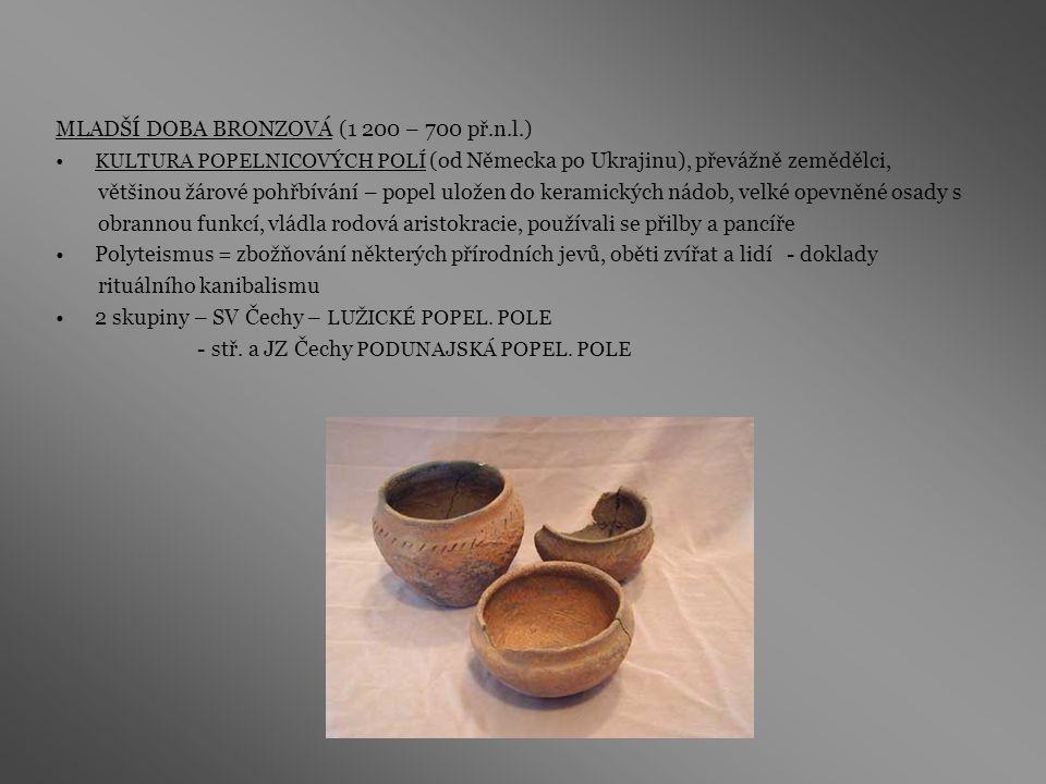 MLADŠÍ DOBA BRONZOVÁ (1 200 – 700 př.n.l.)
