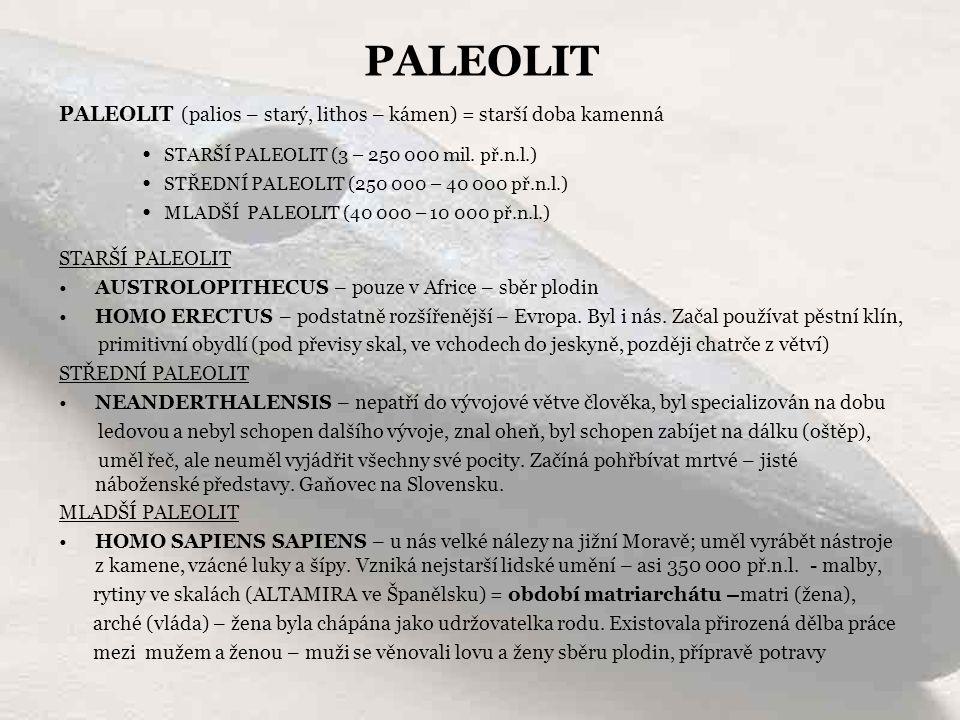 PALEOLIT STARŠÍ PALEOLIT (3 – 250 000 mil. př.n.l.)