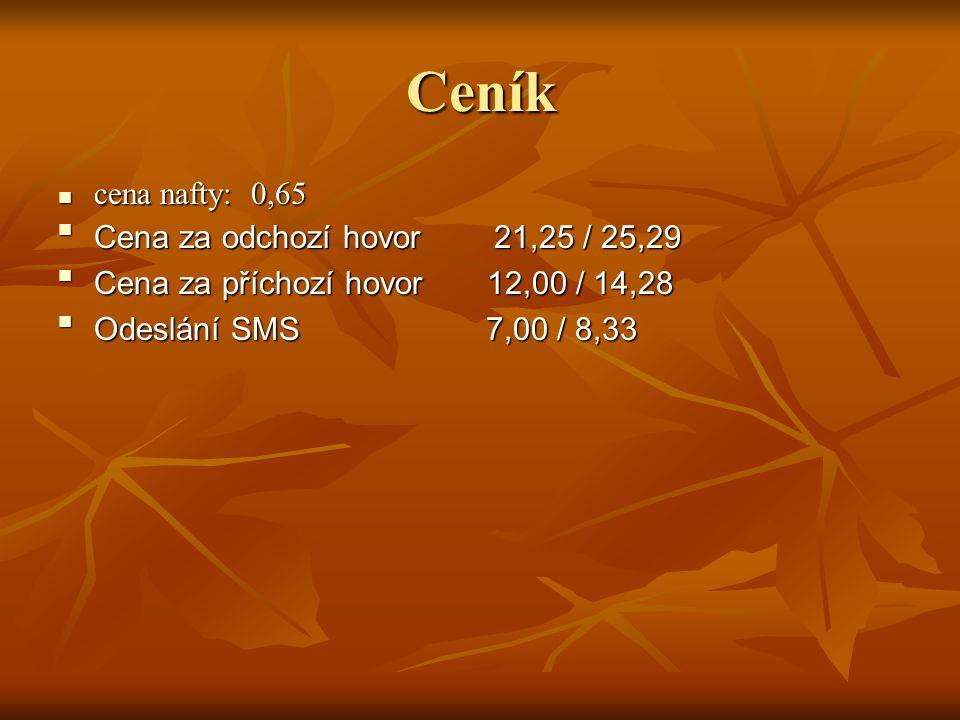 Ceník cena nafty: 0,65 Cena za odchozí hovor 21,25 / 25,29