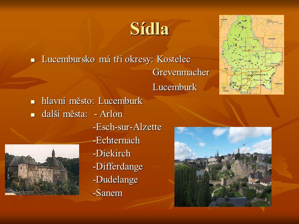 Sídla Lucembursko má tři okresy: Kostelec Grevenmacher Lucemburk