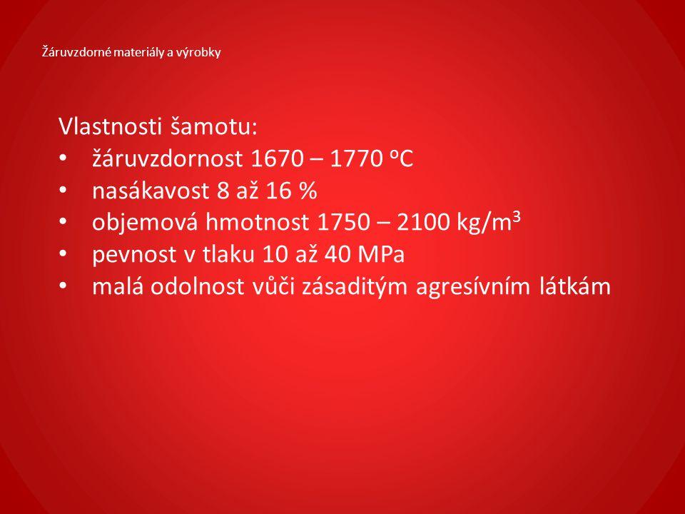 objemová hmotnost 1750 – 2100 kg/m3 pevnost v tlaku 10 až 40 MPa