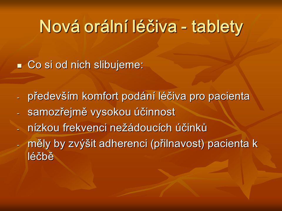 Nová orální léčiva - tablety