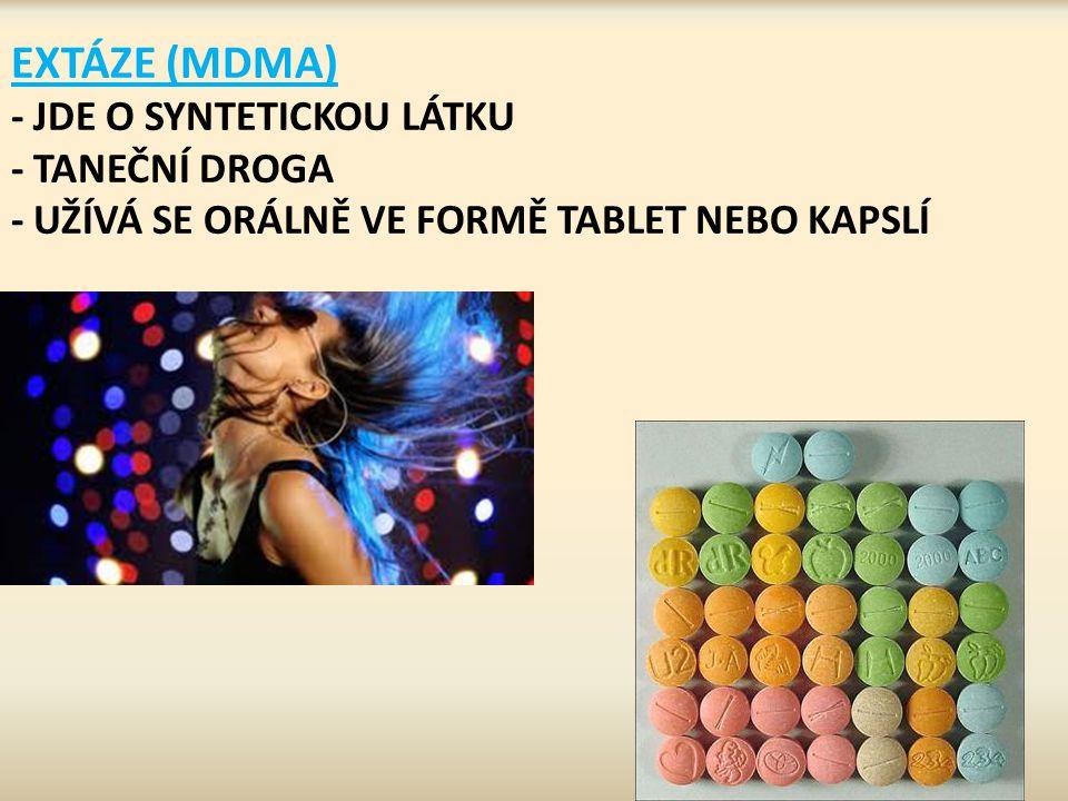EXTÁZE (MDMA) - JDE O SYNTETICKOU LÁTKU - TANEČNÍ DROGA - UŽÍVÁ SE ORÁLNĚ VE FORMĚ TABLET NEBO KAPSLÍ