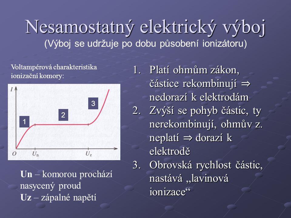 Nesamostatný elektrický výboj (Výboj se udržuje po dobu působení ionizátoru)