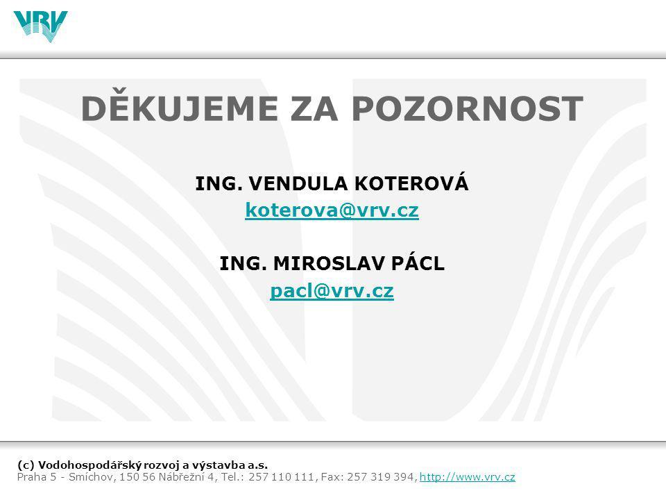 DĚKUJEME ZA POZORNOST ING. VENDULA KOTEROVÁ koterova@vrv.cz