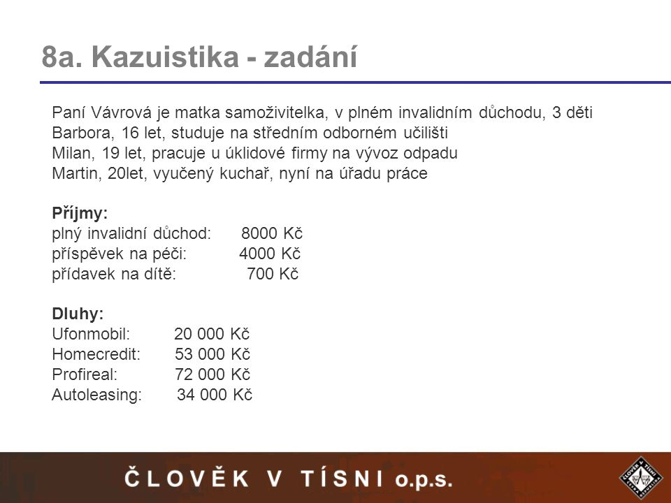 8a. Kazuistika - zadání Paní Vávrová je matka samoživitelka, v plném invalidním důchodu, 3 děti.