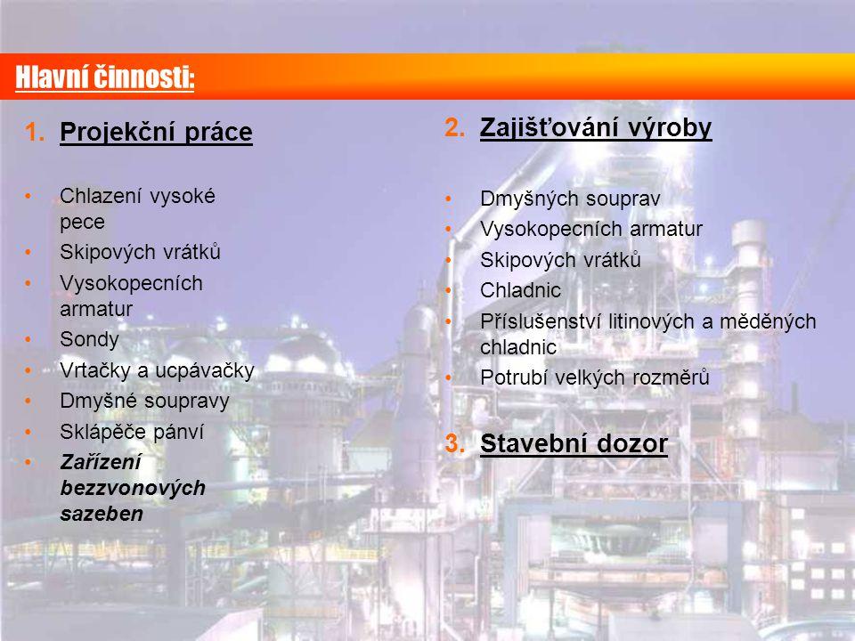 Hlavní činnosti: Zajišťování výroby Projekční práce Stavební dozor