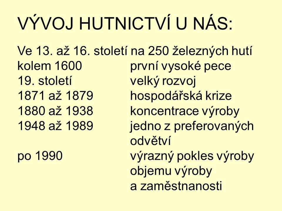 VÝVOJ HUTNICTVÍ U NÁS: Ve 13. až 16. století na 250 železných hutí