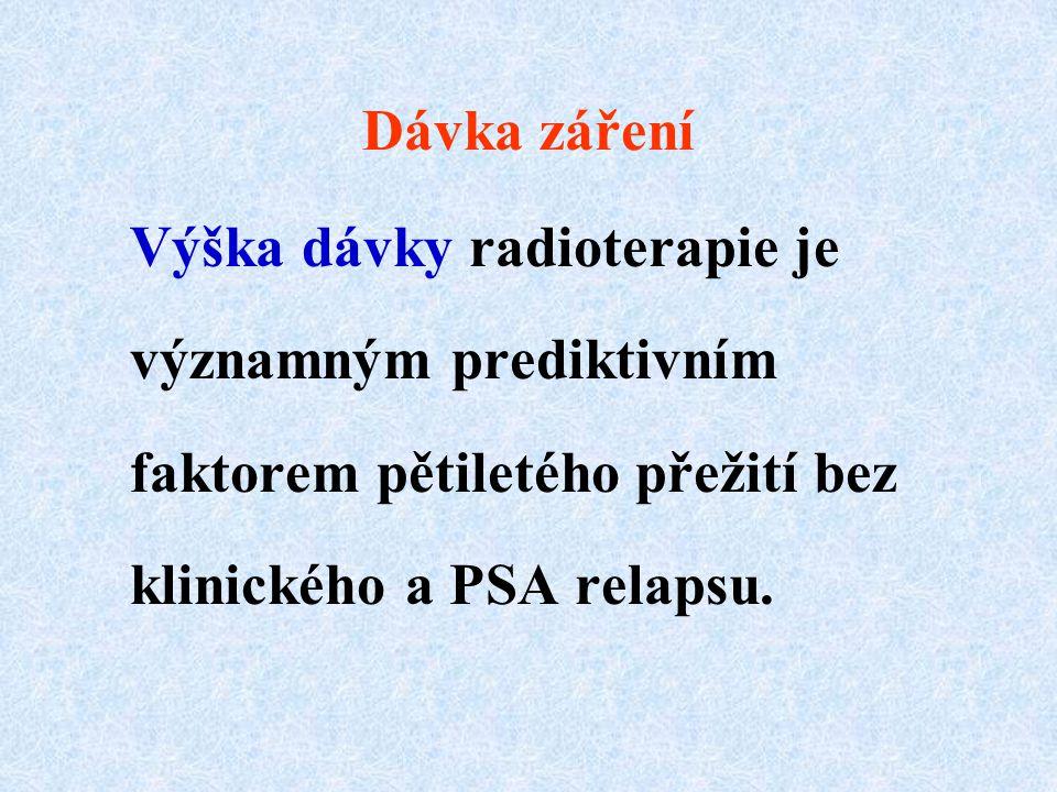 Dávka záření Výška dávky radioterapie je významným prediktivním faktorem pětiletého přežití bez klinického a PSA relapsu.