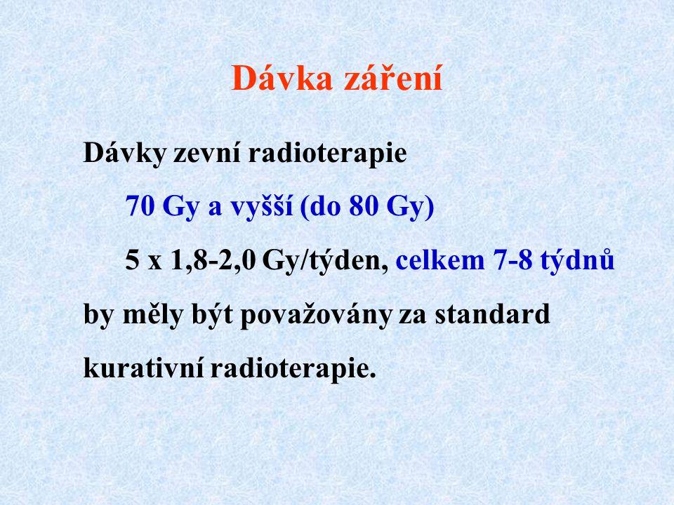 Dávka záření Dávky zevní radioterapie 70 Gy a vyšší (do 80 Gy)