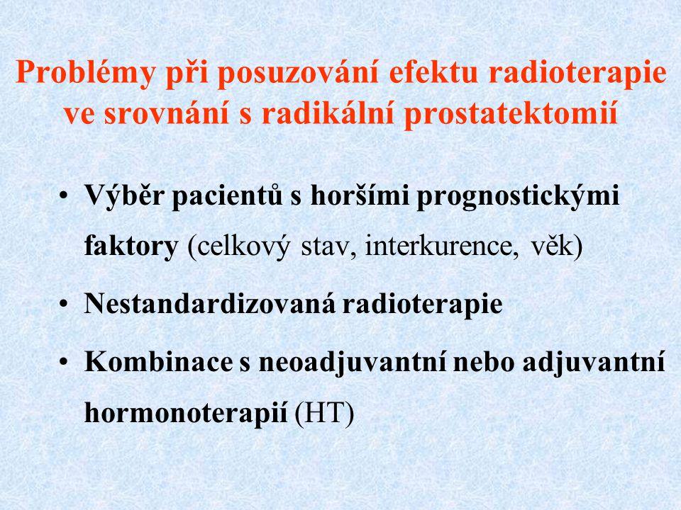 Problémy při posuzování efektu radioterapie ve srovnání s radikální prostatektomií