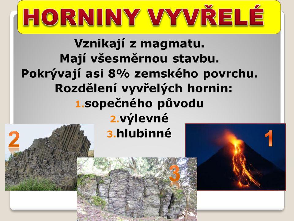 HORNINY VYVŘELÉ 2 1 3 Vznikají z magmatu. Mají všesměrnou stavbu.