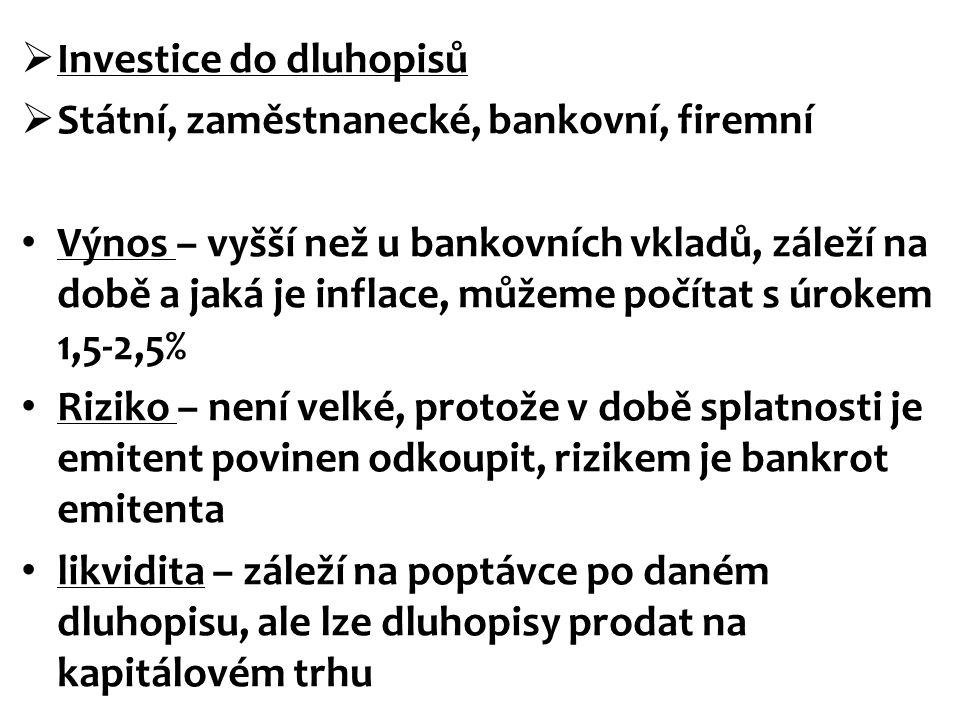 Investice do dluhopisů