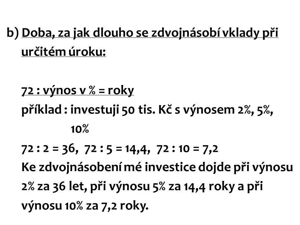 b) Doba, za jak dlouho se zdvojnásobí vklady při určitém úroku: 72 : výnos v % = roky příklad : investuji 50 tis.