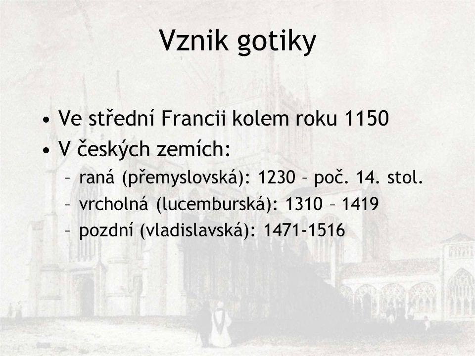 Vznik gotiky Ve střední Francii kolem roku 1150 V českých zemích: