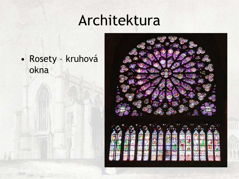 Architektura Rosety – kruhová okna