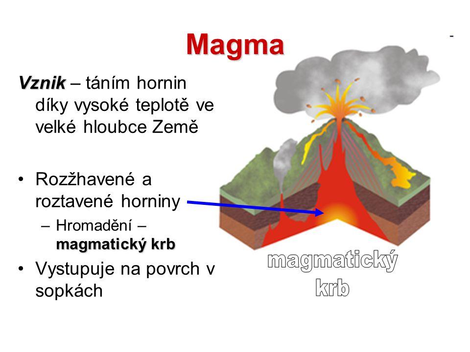Magma Vznik – táním hornin díky vysoké teplotě ve velké hloubce Země. Rozžhavené a roztavené horniny.