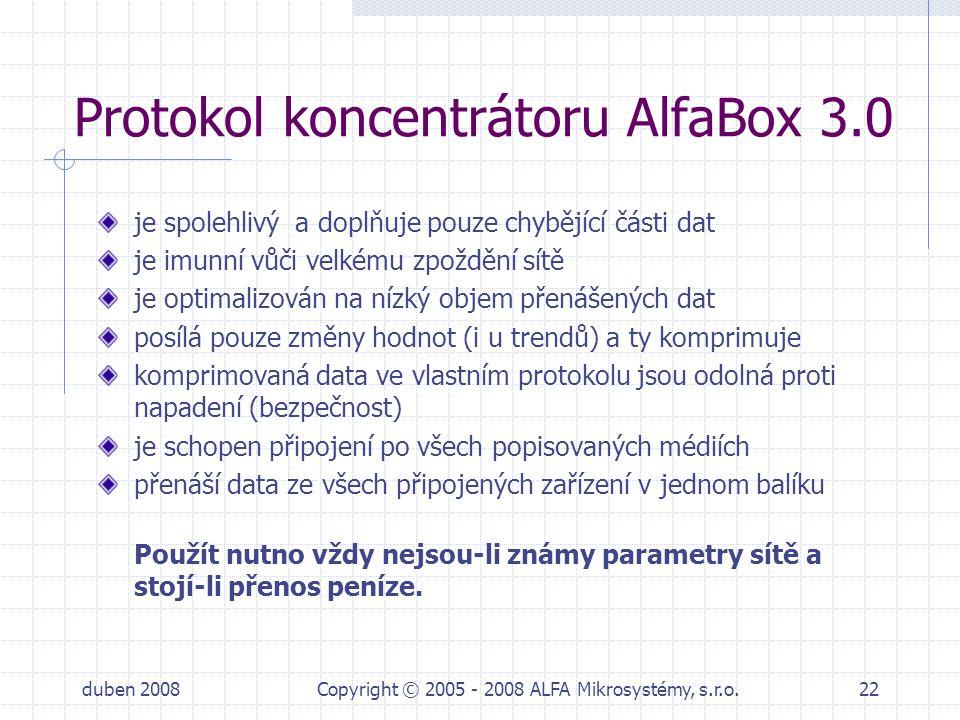 Protokol koncentrátoru AlfaBox 3.0