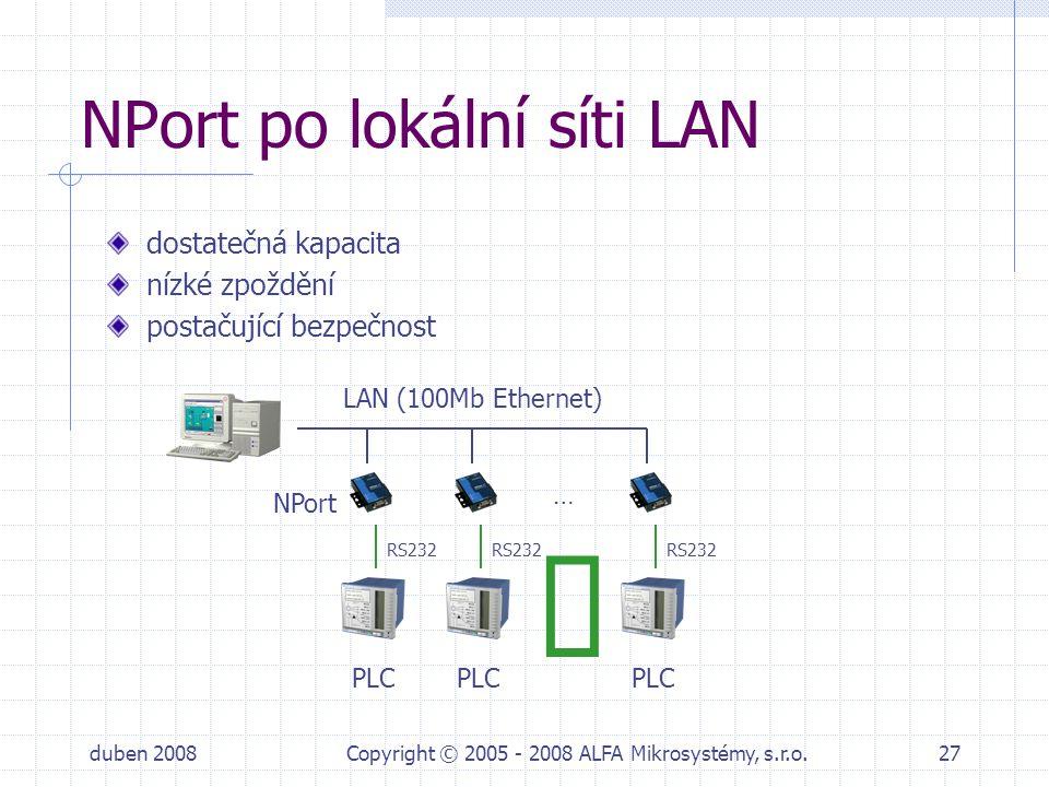 NPort po lokální síti LAN