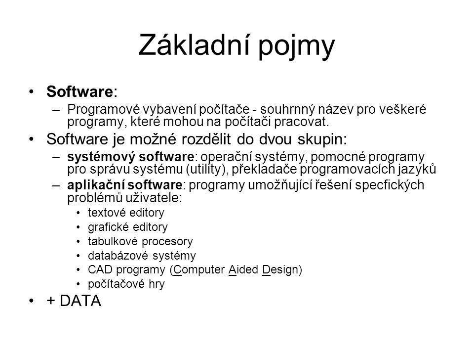 Základní pojmy Software: Software je možné rozdělit do dvou skupin: