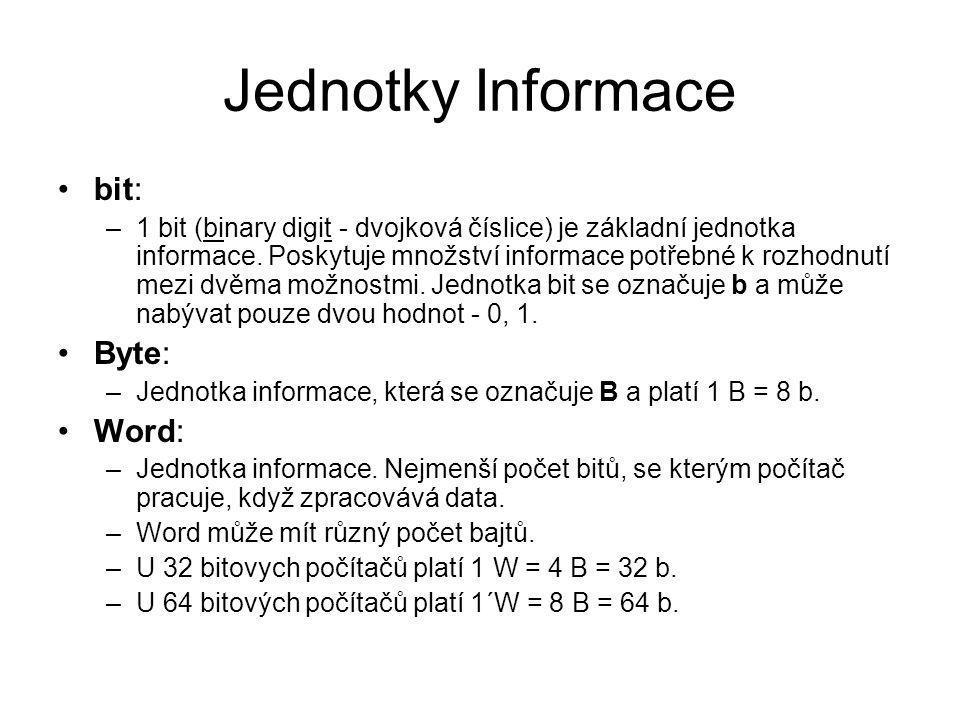 Jednotky Informace bit: Byte: Word: