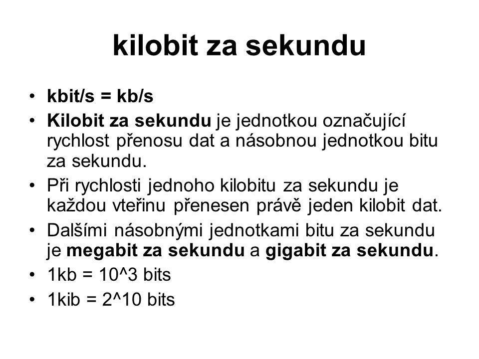 kilobit za sekundu kbit/s = kb/s