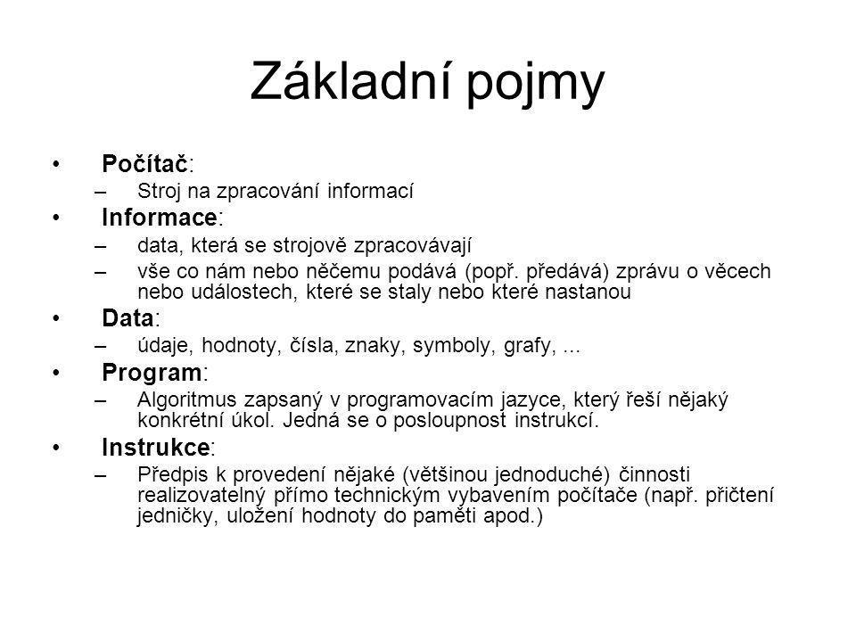 Základní pojmy Počítač: Informace: Data: Program: Instrukce: