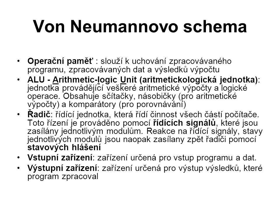 Von Neumannovo schema Operační paměť : slouží k uchování zpracovávaného programu, zpracovávaných dat a výsledků výpočtu.