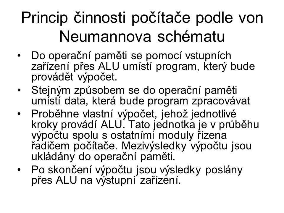 Princip činnosti počítače podle von Neumannova schématu