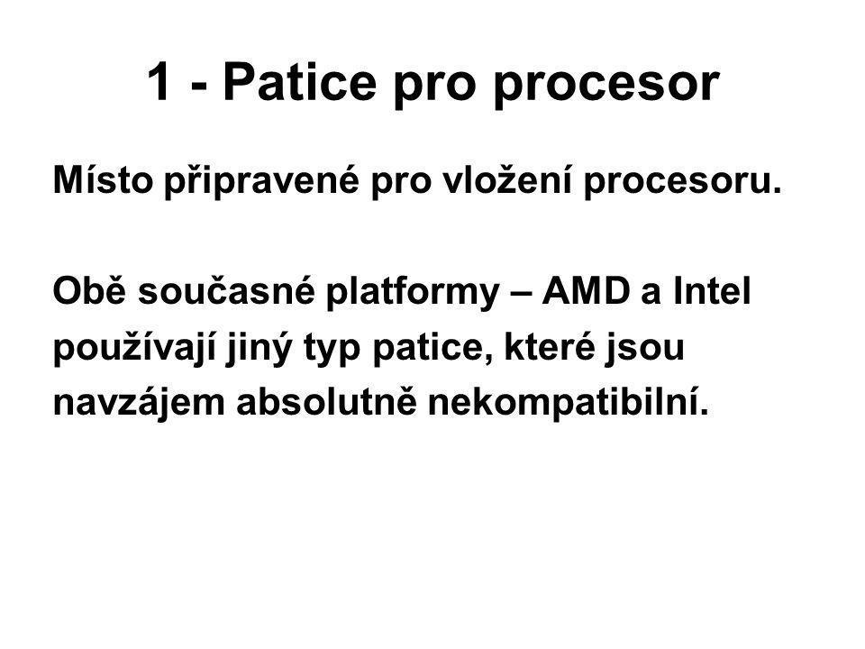 1 - Patice pro procesor Místo připravené pro vložení procesoru.