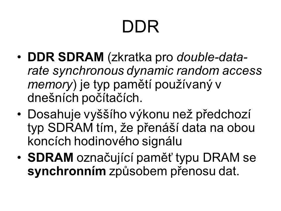 DDR DDR SDRAM (zkratka pro double-data-rate synchronous dynamic random access memory) je typ pamětí používaný v dnešních počítačích.