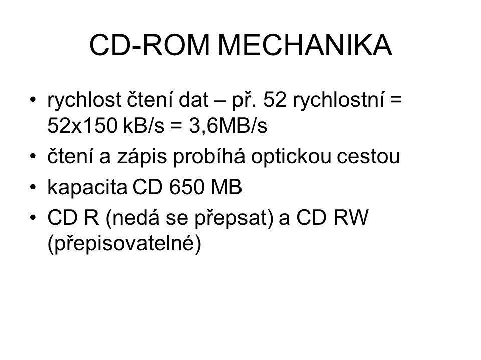 CD-ROM MECHANIKA rychlost čtení dat – př. 52 rychlostní = 52x150 kB/s = 3,6MB/s. čtení a zápis probíhá optickou cestou.